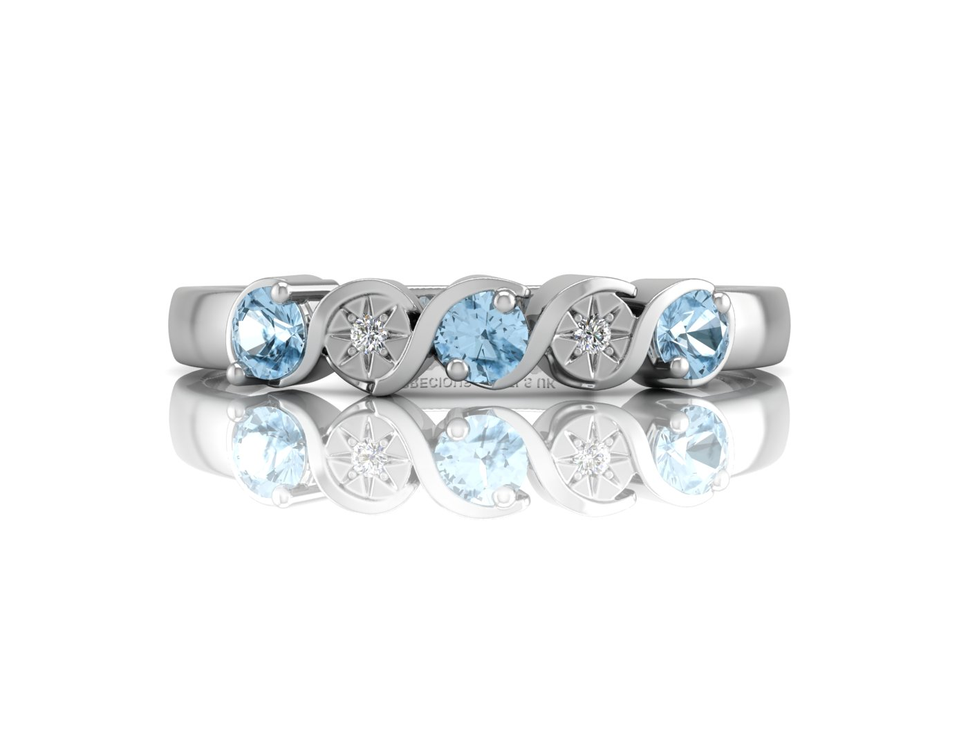 9ct White Gold Semi Eternity Diamond And Blue Topaz Ring 0.01 Carats - Image 4 of 4