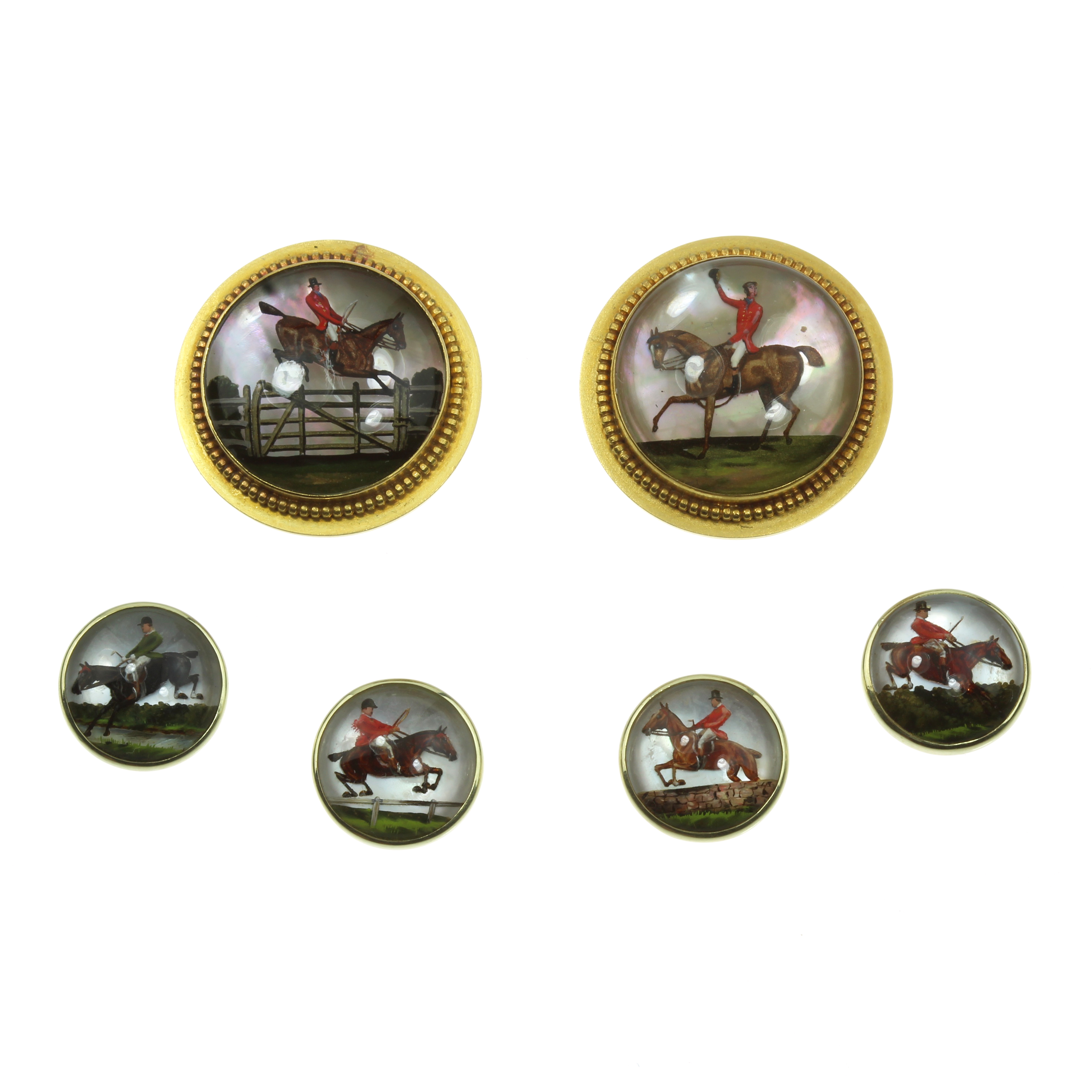 Los 49 - AN ANTIQUE EQUESTRIAN ESSEX CRYSTAL CUFFLINKS AND SHIRT BUTTON DRESS SET in high carat yellow gold