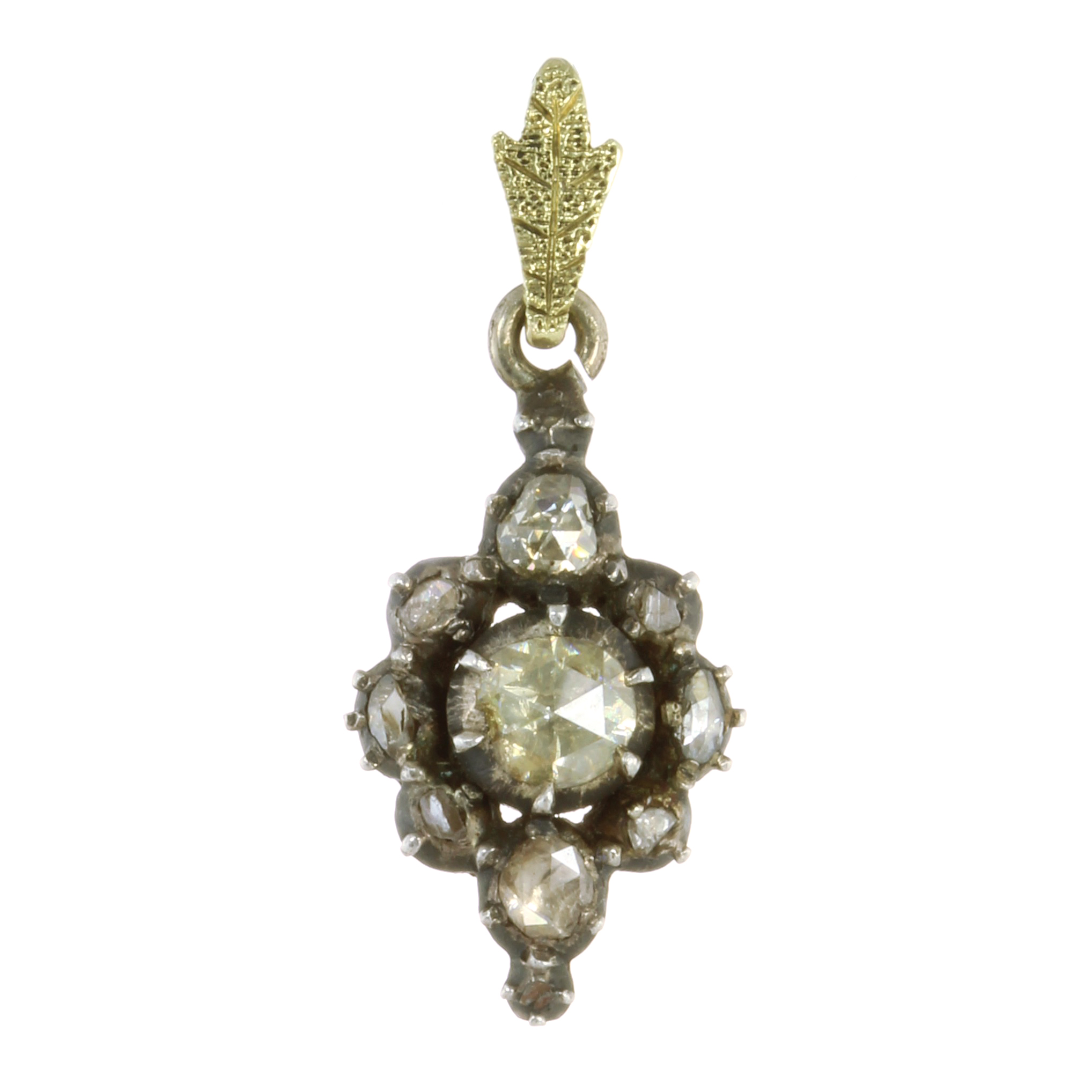 Los 22 - AN ANTIQUE DIAMOND PENDANT, DUTCH 19TH CENTURY set with a central rose cut diamond surrounded by a