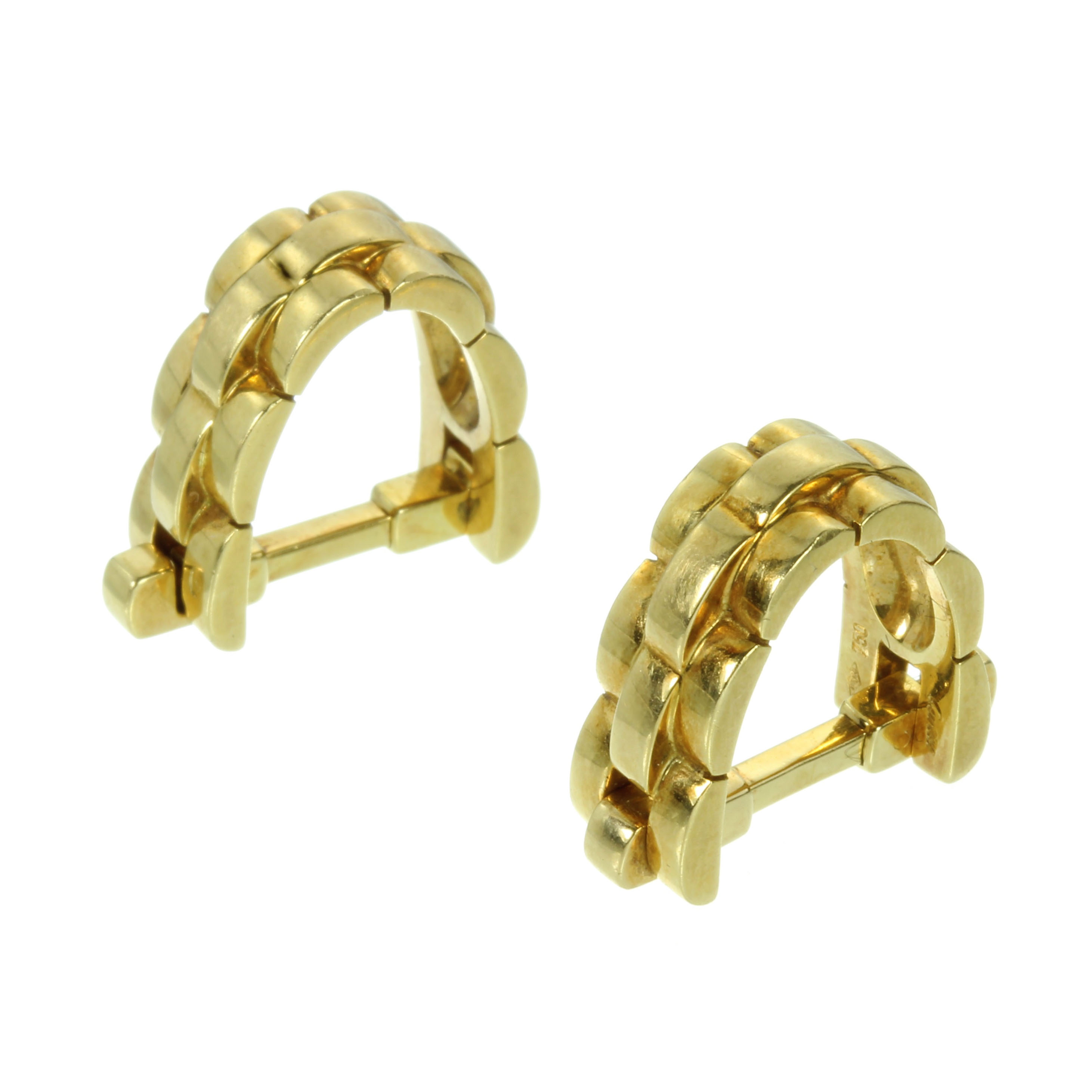 Los 40 - A PAIR OF VINTAGE MAILLON CUFFLINKS BY CARTIER in 18ct yellow gold, each designed as a gold link