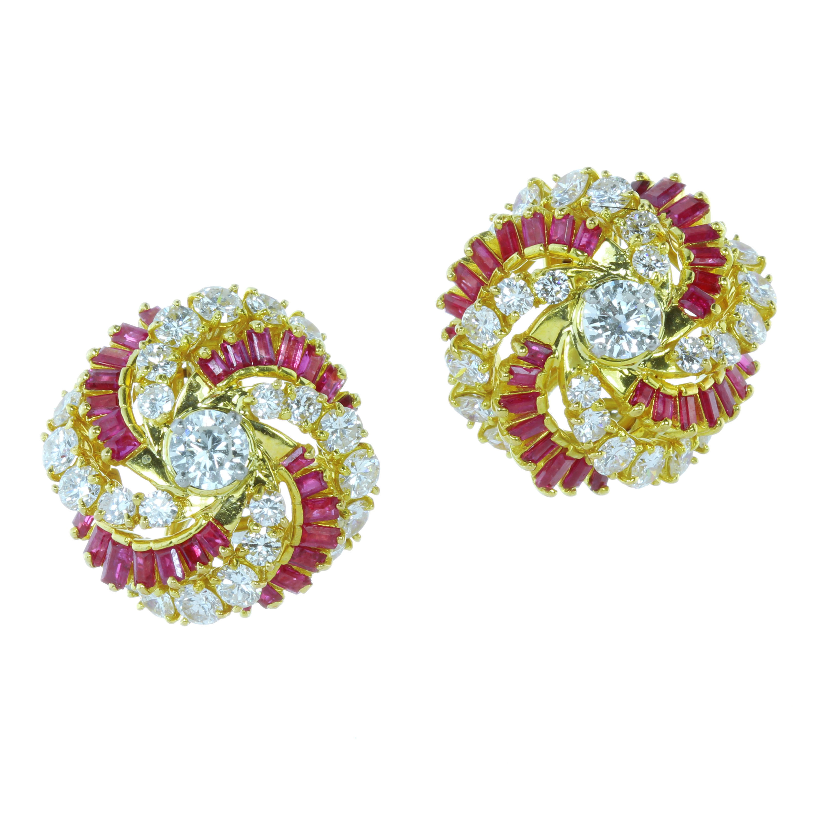 A PAIR OF VINTAGE DIAMOND AND RUBY EARRINGS, KUTCHINSKY CIRCA 1965 in 18ct yellow gold, each earring