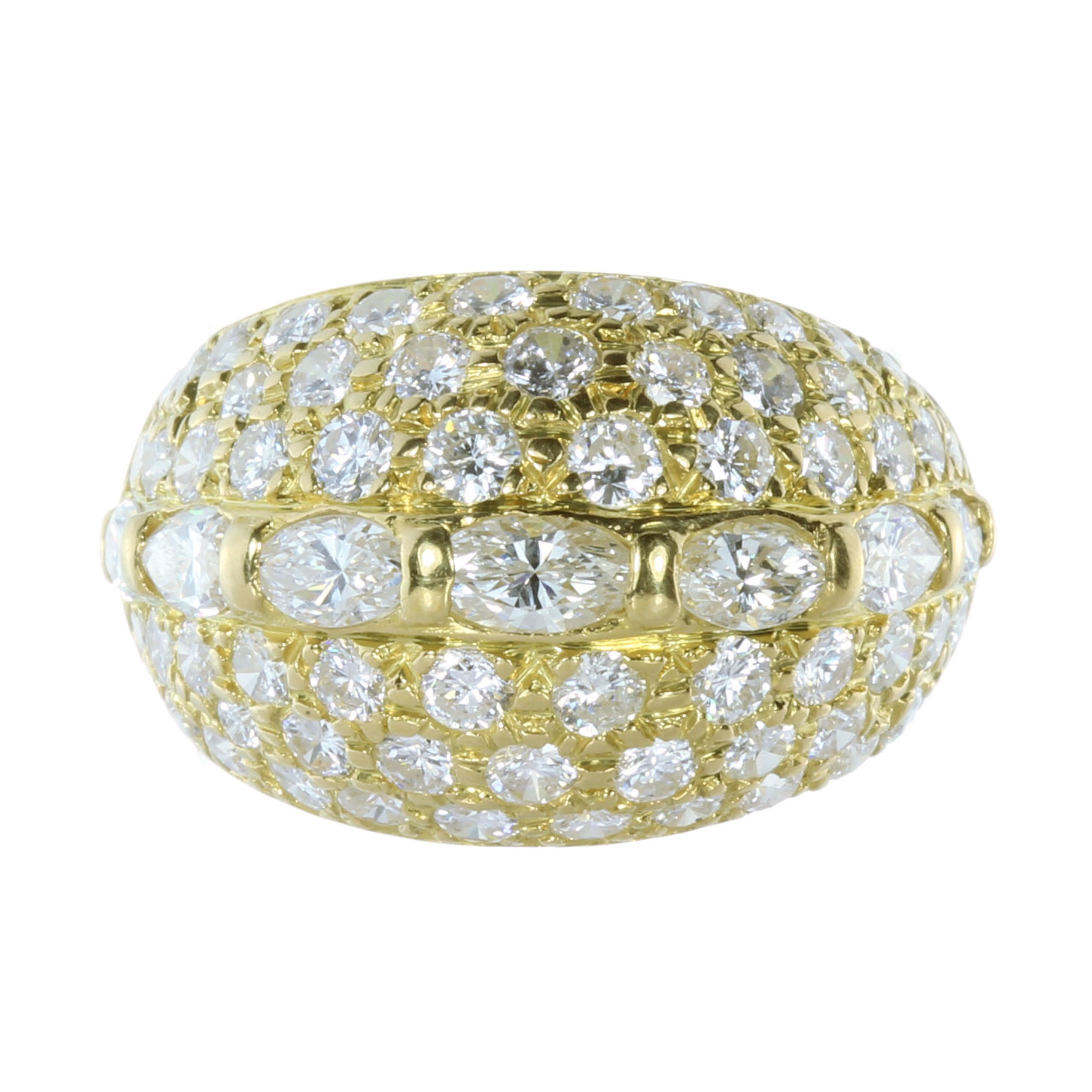 Los 59 - A DIAMOND BOMBE DRESS RING in high carat yellow gold, set with a central row of seven oval cut