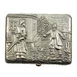AN ANTIQUE CONTINENTAL SILVER CIGARETTE CASE with chased scene to the front and riveted arnorial and