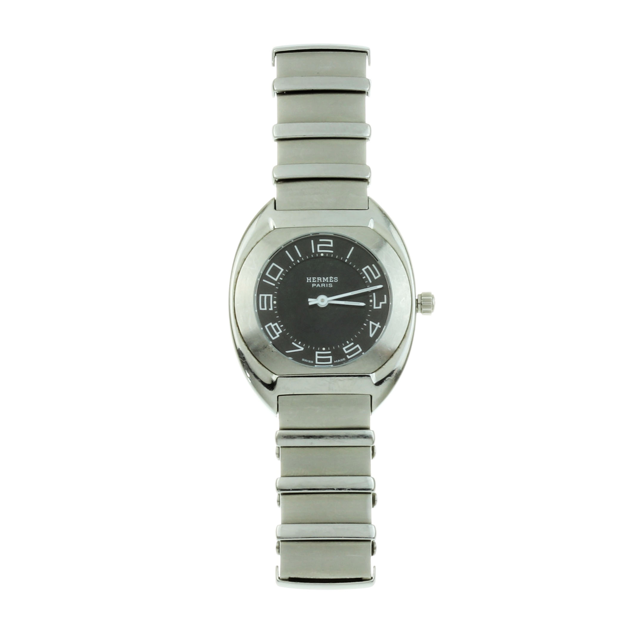 Los 31 - AN HERMES ESPACE LADIES WRIST WATCH in stainless steel, 31mm case, the dial black with white