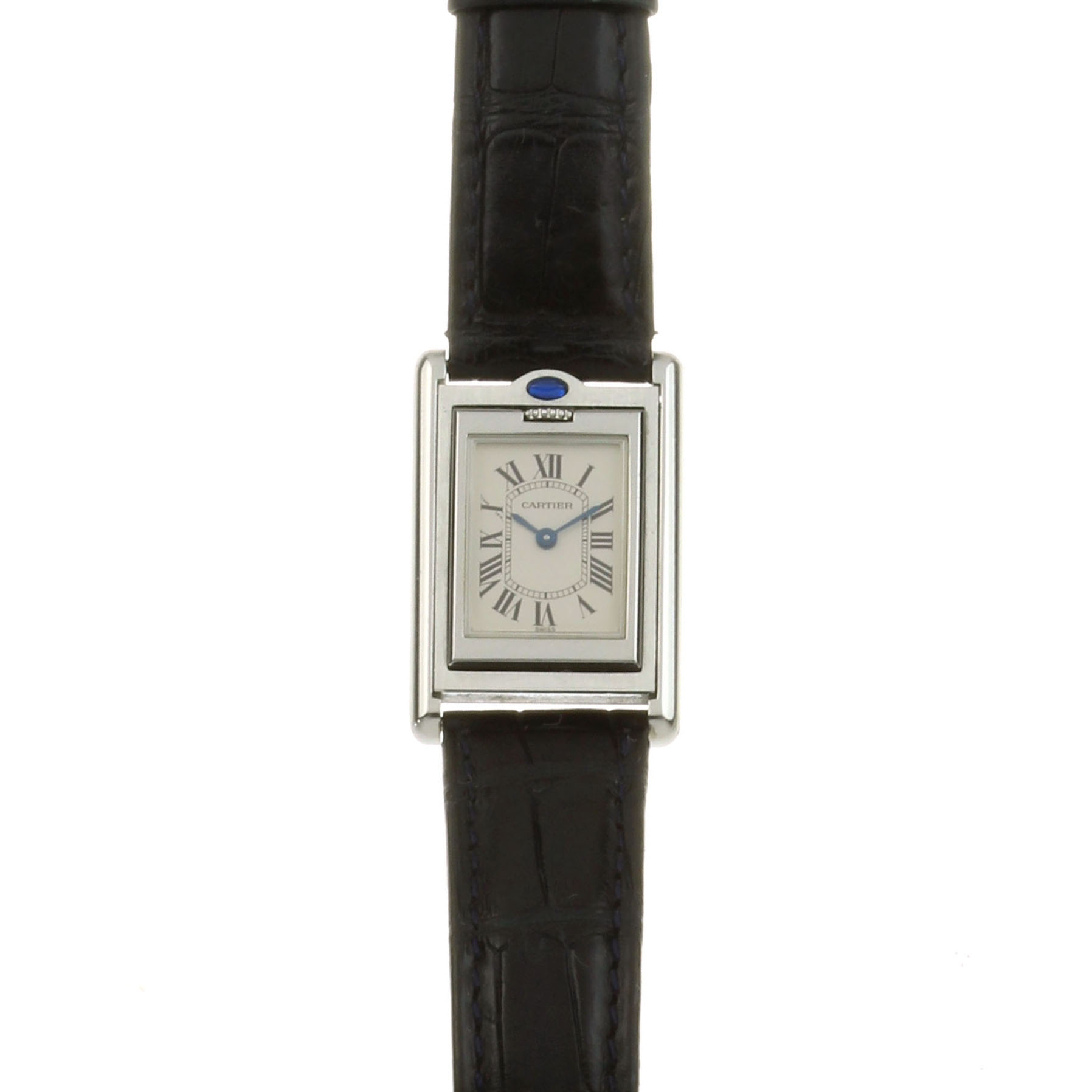 Los 36 - A CARTIER TANK BASCULANTE LADIES WRIST WATCH in stainless steel, the rectangular reversible face