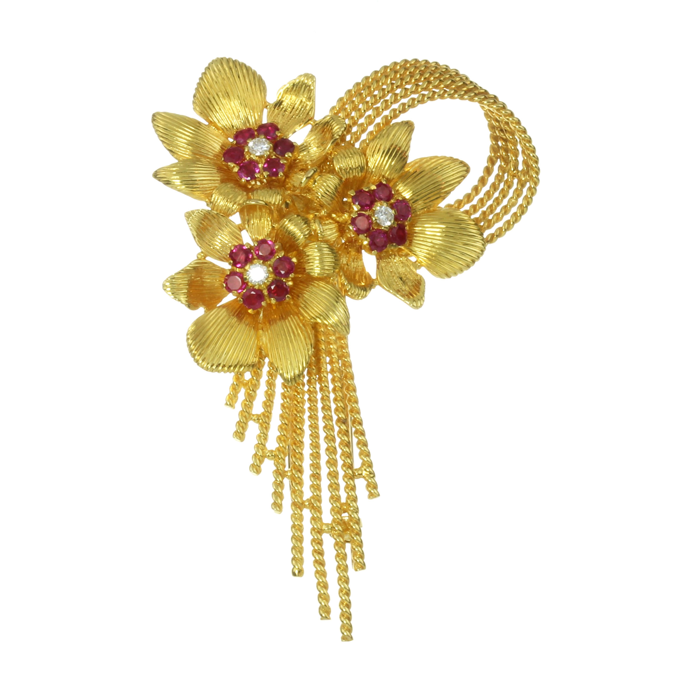 A VINTAGE RUBY AND DIAMOND BROOCH, KUTCHINSKY 1959 in 18ct yellow gold, designed as a trio of