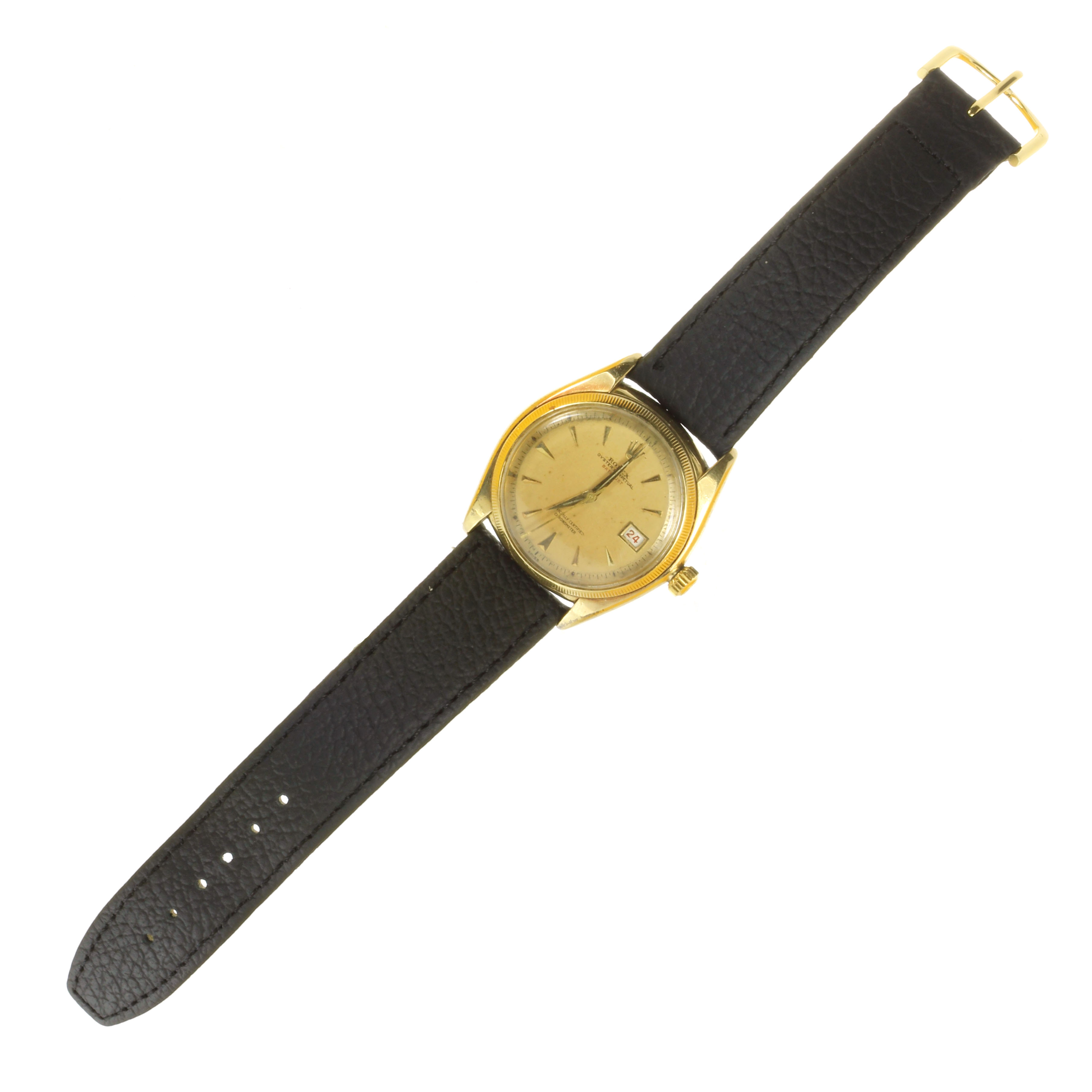 Los 35 - A VINTAGE ROLEX OYSTER PERPETUAL DATEJUST 'BIG BUBBLE' WRIST WATCH, CIRCA 1965 in 18ct yellow