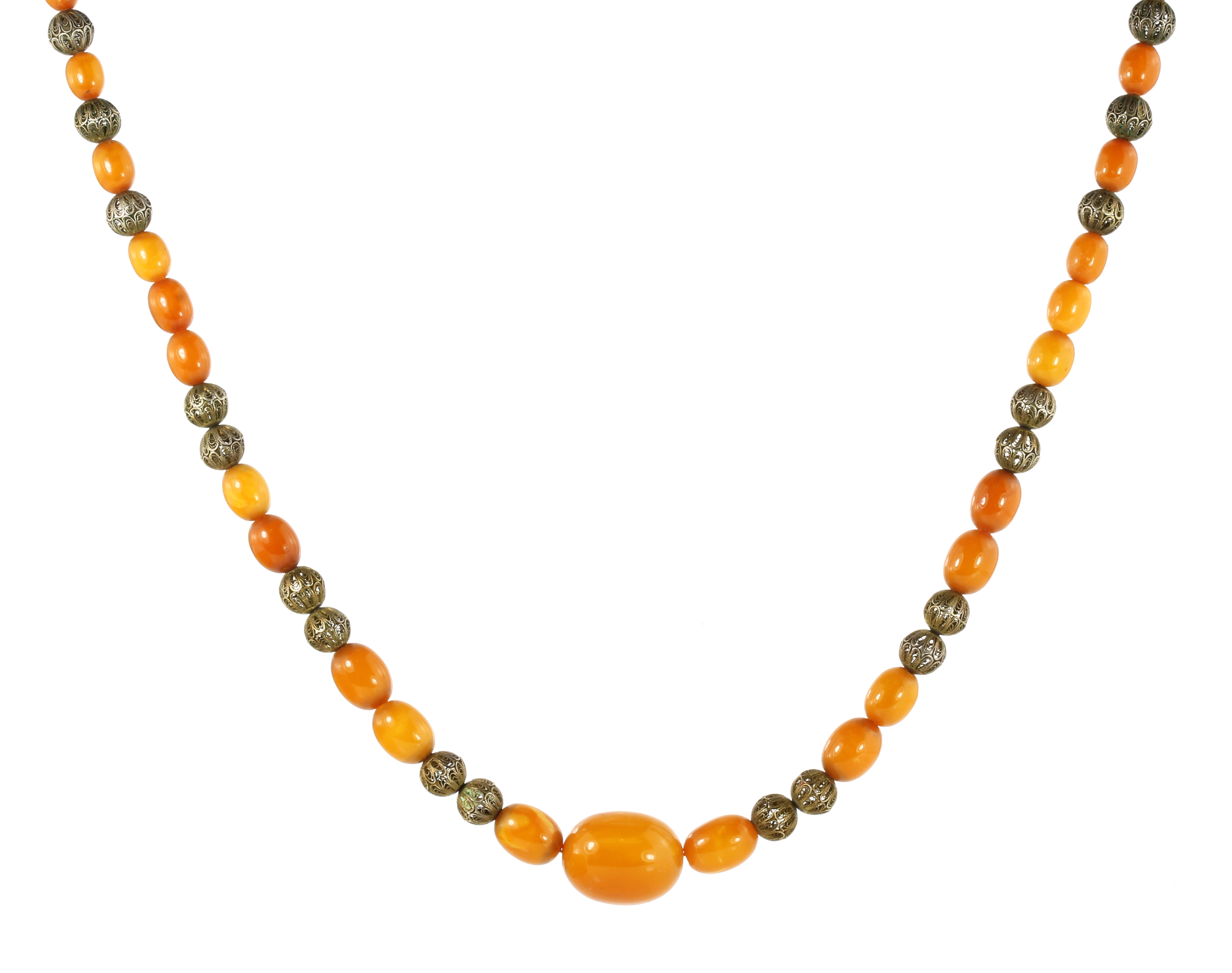 AN ANTIQUE NATURAL AMBER BEAD NECKLACE comprising a single row of forty-one graduated polished