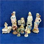 SHELF LOT OF CONTINENTAL FIGURES TO INCLUDE ANTIQUE FIGUREENS