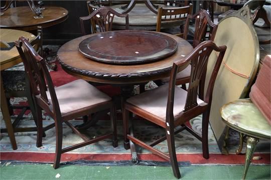 Pleasing A John E Coyle Circular Extending Dining Table Gadrooned Bralicious Painted Fabric Chair Ideas Braliciousco