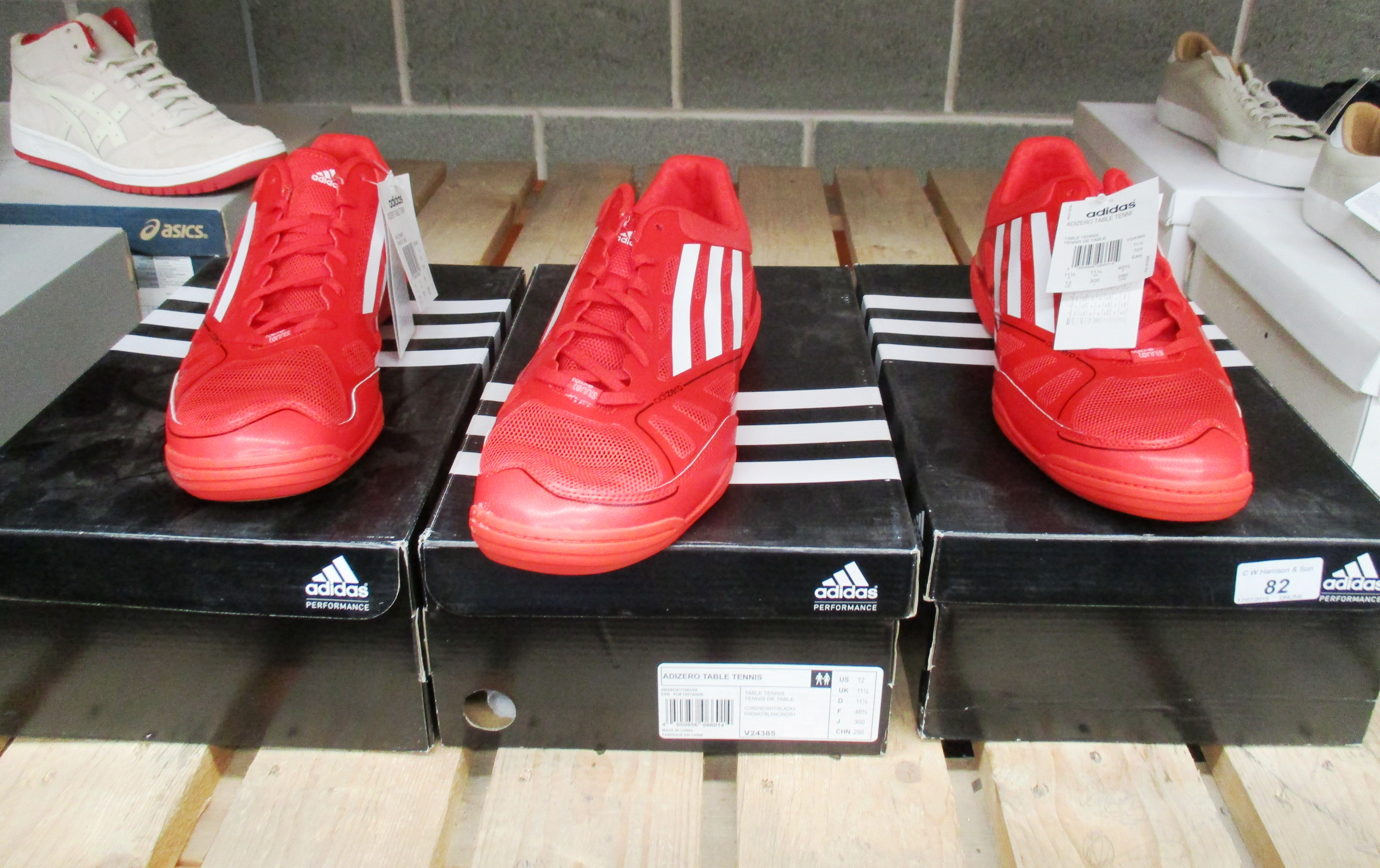 3 x pairs of Adidas Adizero table tennis shoes size 11 ½