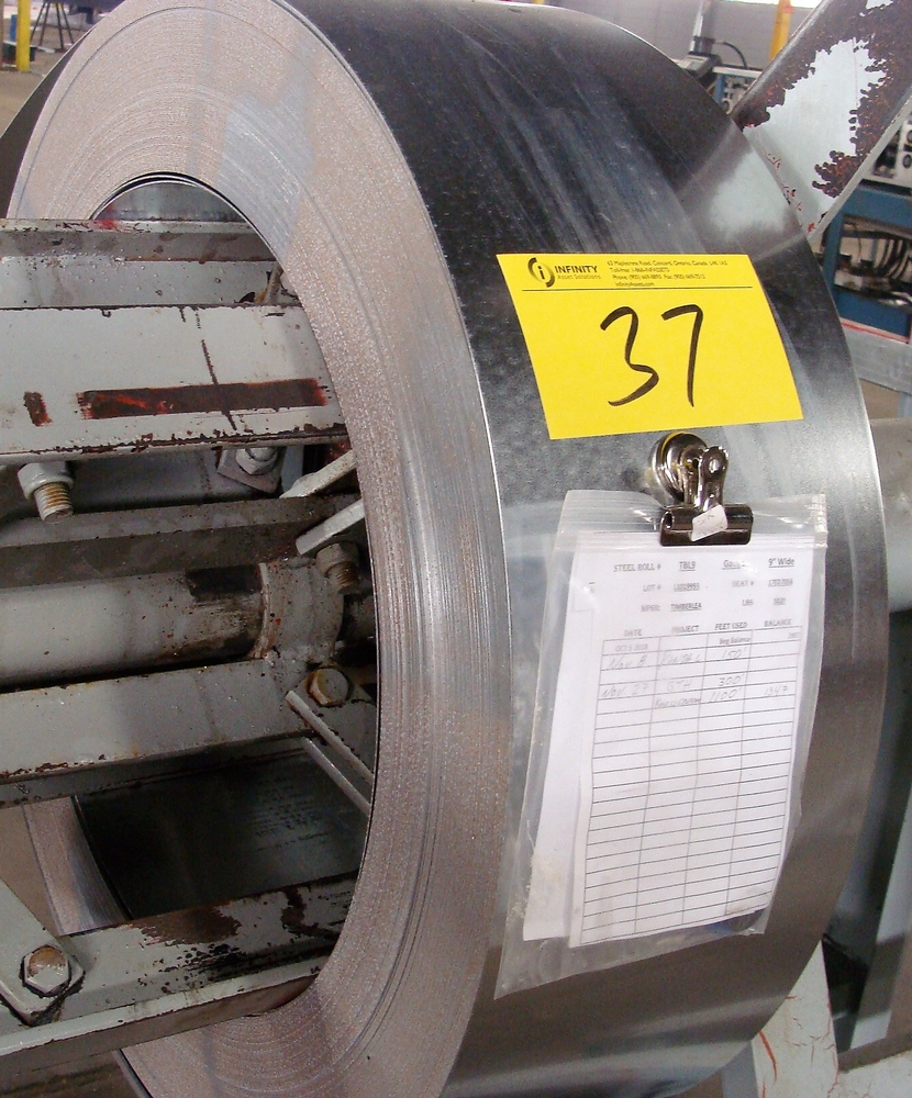 """Lot 37 - LOT OF (4) COILS GALVANIZED STEEL, 3""""W, 9""""W, 5-3/4""""W, WEIGHT N/A"""