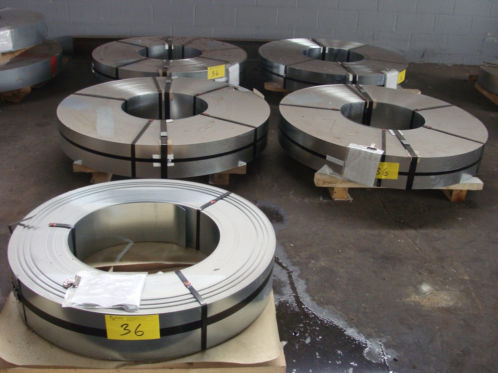 """Lot 36 - LOT OF (5) COILS OF .043 GALVANIZED G90 GR50 DRY, 7""""W, APPROX. 1,30LBS, 3,000LBS, 3,025LBS, 3,"""