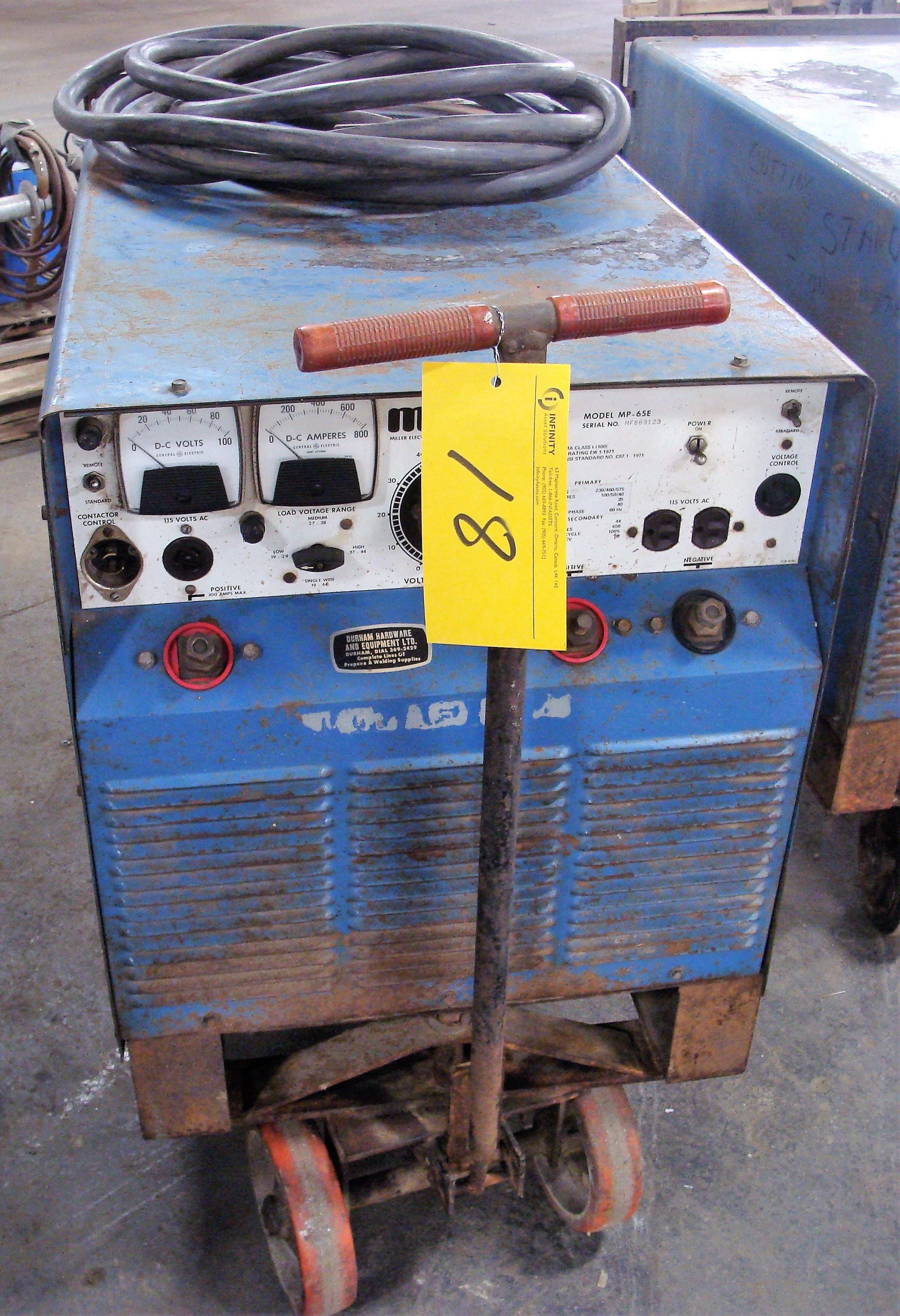 Lot 18 - MILLER MP-65E DC ARC WELDER, S/N HF863123