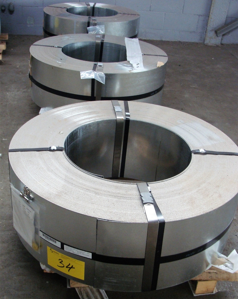 """Lot 34 - LOT OF (3) COILS OF .056 GALVANIZED GR50 DRY, 16GA, 12.375""""W, APPROX. 2,615LBS, 2,580LBS, 2,595LBS"""