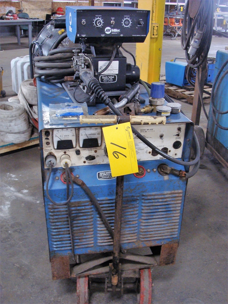 Lot 16 - MILLER DC ARC WELDER MODEL MP-65E, S/N HF876015 W/ MILLER S-54E WIRE FEED, S/N JJ419481