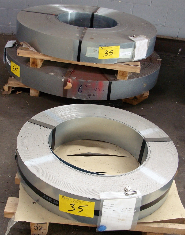 "Lot 35 - LOT OF (3) COILS OF .044 GALVANIZED CS P/D G60, 19GA, 6""W, APPROX. 3,300LBS, 2,291LBS, 818LBS"