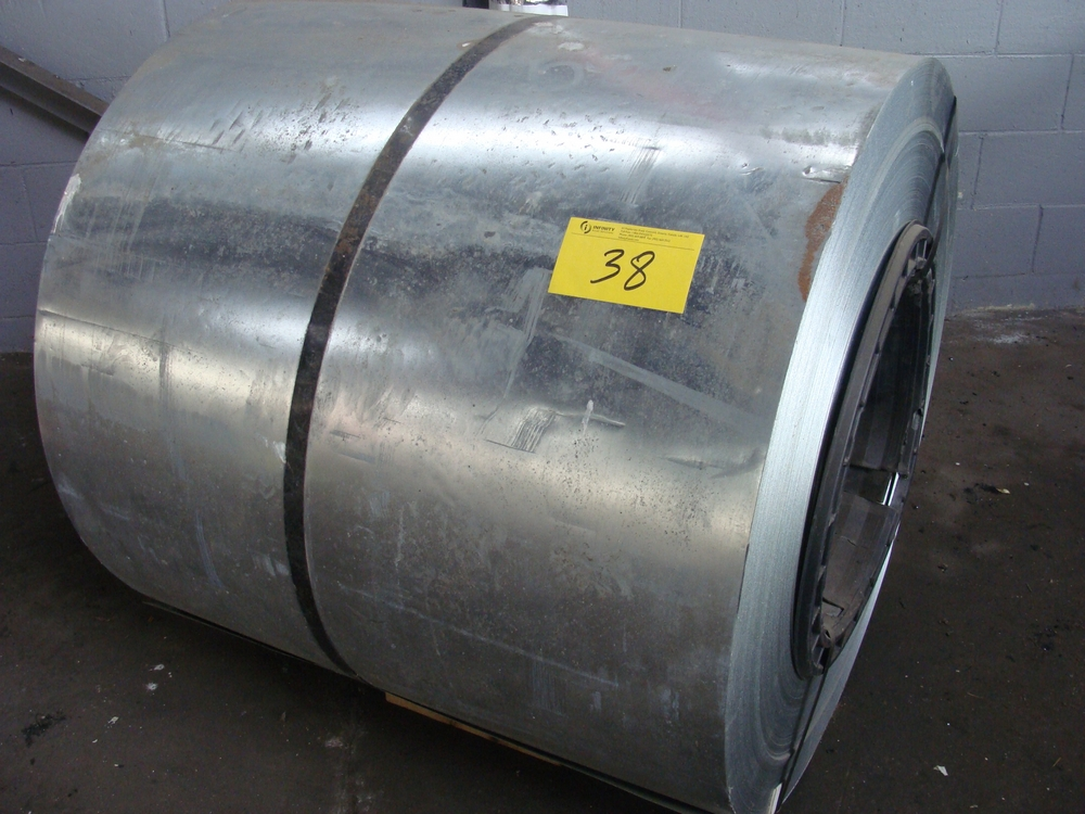 "Lot 38 - LOT OF (2) COILS GALVANIZED STEEL, 40""W, WEIGHT N/A"