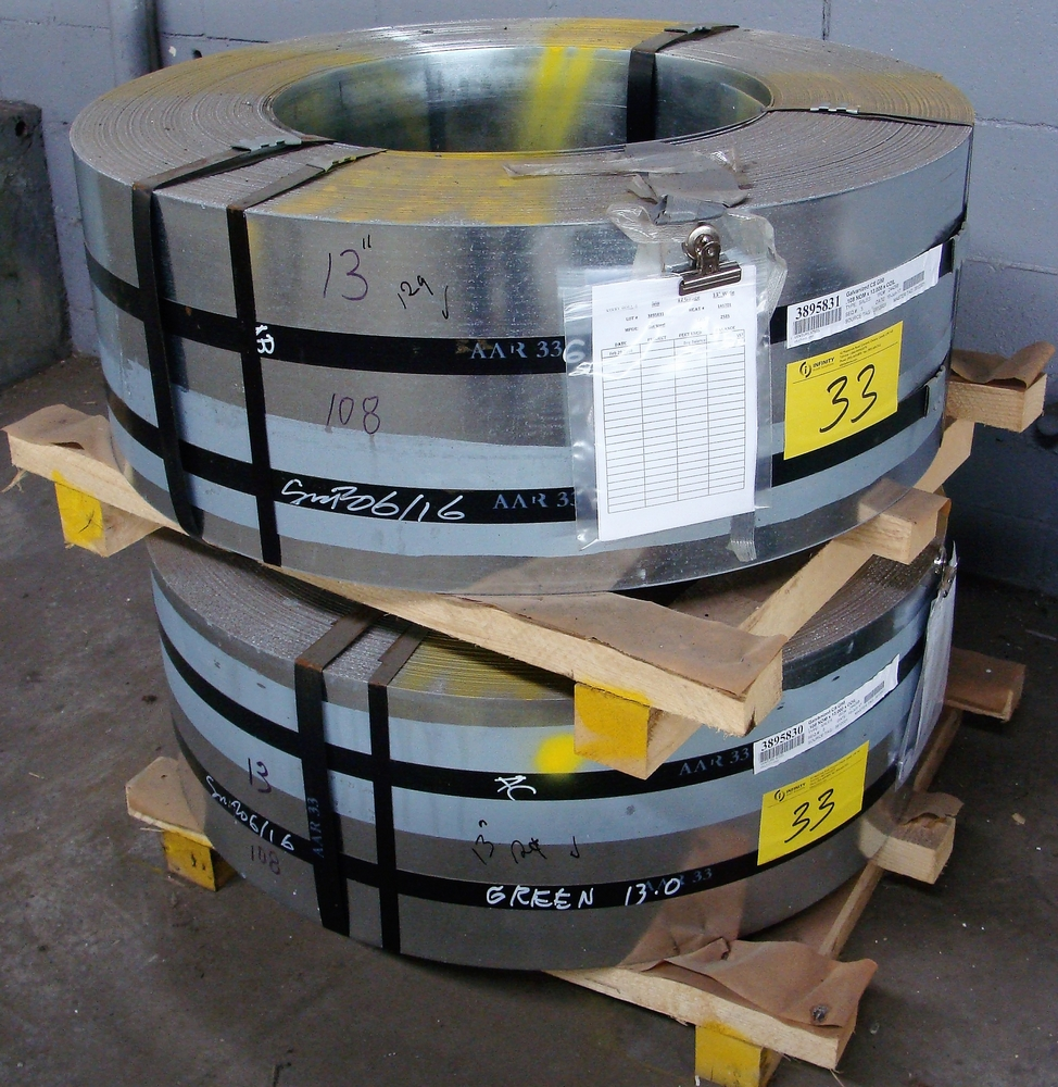 "Lot 33 - LOT OF (2) COILS OF 0.103 GALVANIZED CS G90, 12GA, 13""W, APPROX. 2,585LBS & 2,600LBS"
