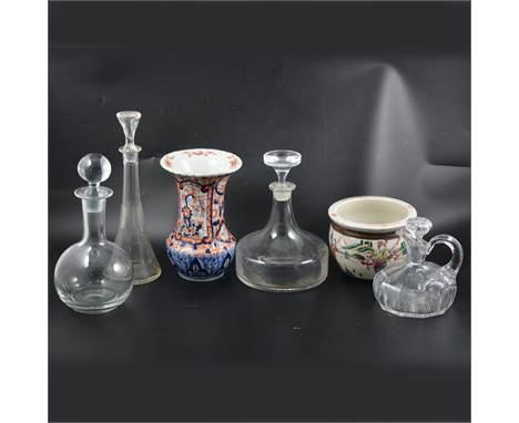 Japanese Imari vase, waisted form, 22cm, WMF glass carafe, etc.