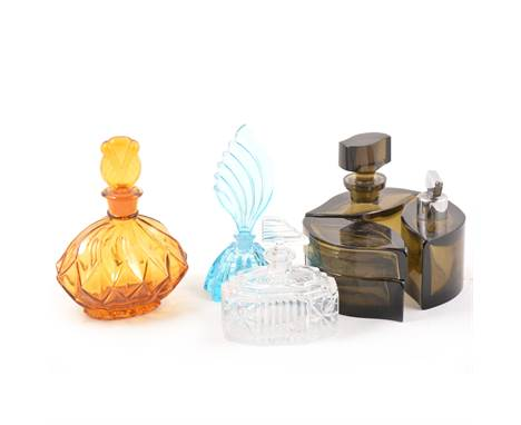 Collection of glass scent bottles, mostly modern, including Lalique Crystal 'Mirabel' design, 11cm; an Orrefors bottle with h