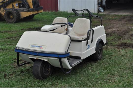 Columbia 3-Wheel Golf Cart, 2-person seating, Harley-Davidson engine on harley trailer, walker golf cart value, yamaha golf cart value,