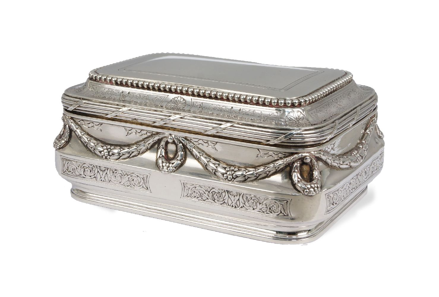 Lot 65 - Andre Aucoc: (1887-1911) A fine quality French silver sugar box, of rectangular form, the stepped