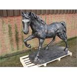 MASSIVE CRATED CAST IRON HORSE ON PLINTH