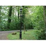 CAST IRON VICTORIAN STYLE LADDER BAR LAMPOST IN BLACK PRIMER WITH NEW GLAZED BLACK CAST IRON TOP