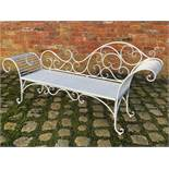 NEW ORNATE CHAISE WHITE LARGE GARDEN BENCH