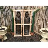 PAIR LARGE CRATED GUARDS IN BRONZE FINISH