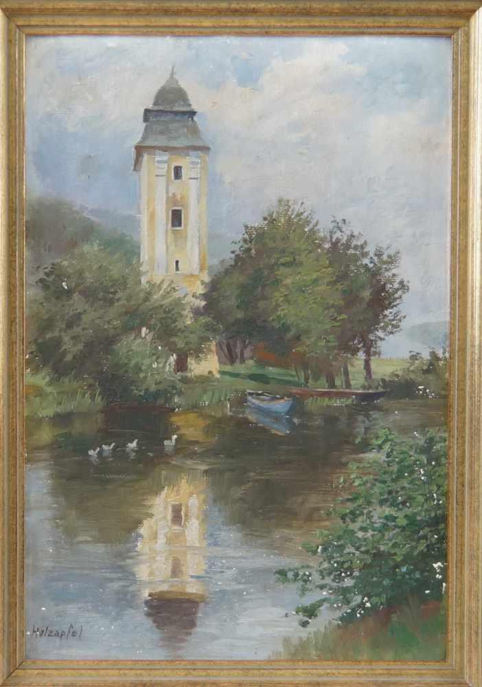 Lot 212 - Hans Holzapfel, 1884- 1960 München, Wasserturm am Gewässer, Öl auf Malkarton, gerahmt,signiert,