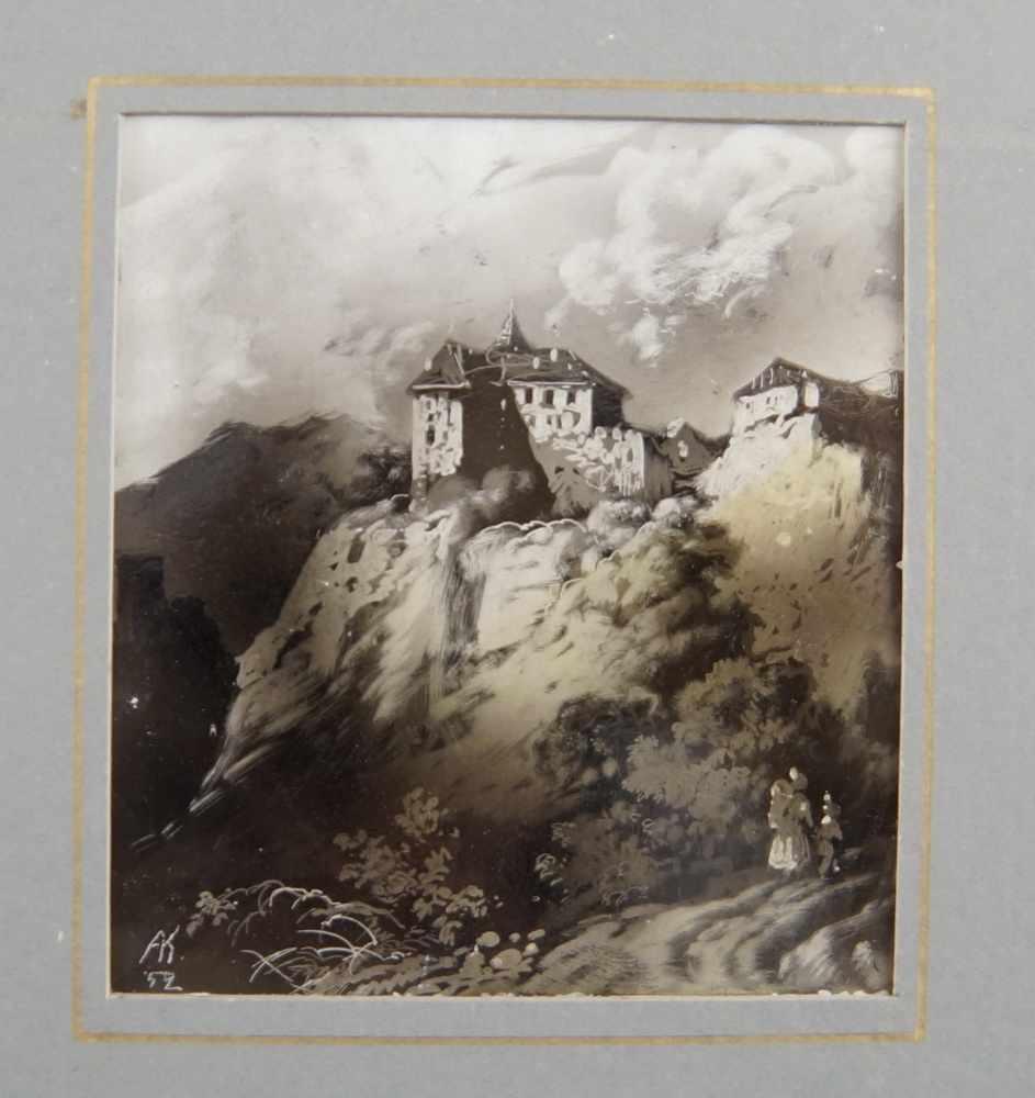 Lot 228 - Darstellung einer Burg auf dem Berg, gerahmt, monogrammiert, 31x27cm- - -24.00 % buyer's premium