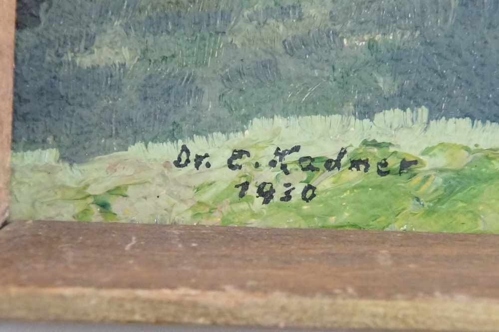 "Lot 209 - Landschaft, ""Sonnenkuss"", Öl auf Malkarton, verso bezeichnet, signiert, datiert, geramt,"