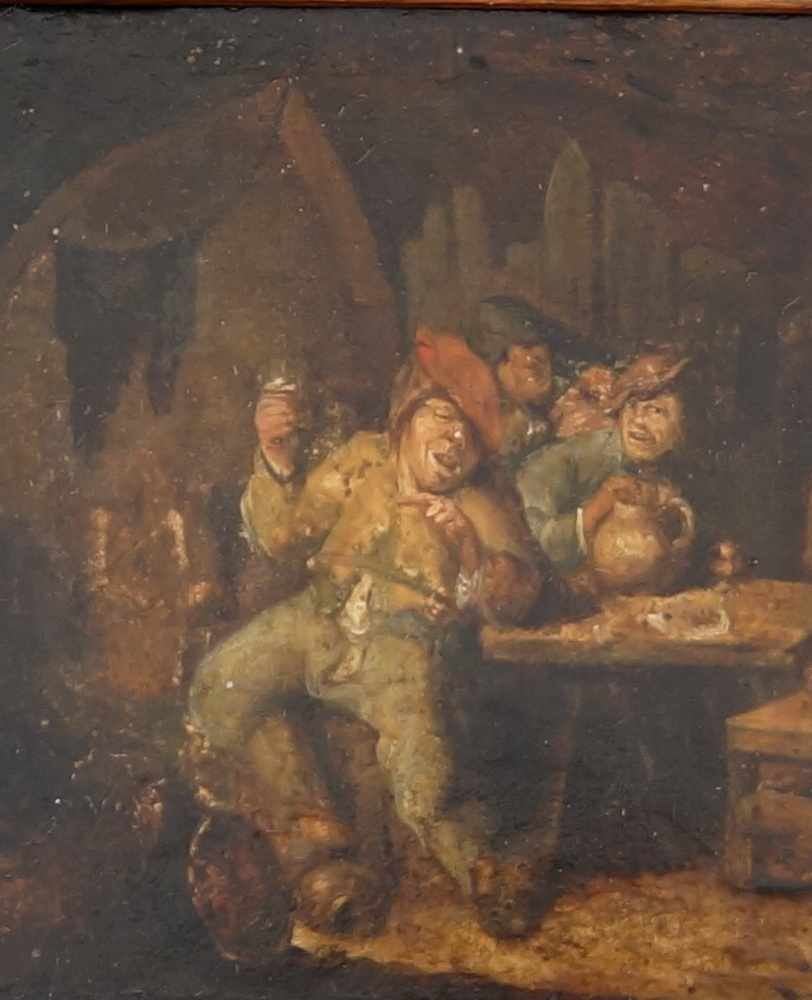 Lot 223 - In der Bauernstube, wohl nach Adriaen van Ostade oder dessen Umkreis, Öl auf Holz, versomit