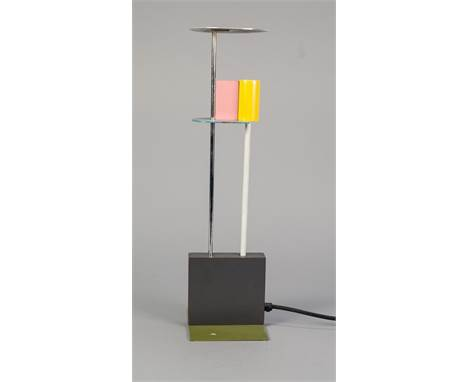 ETTORE SOTTSASS 'PICCADILLY' COLOURED METAL TABLE LAMP DESIGNED BY GERALD TAYLOR, 1982, finished in blue, yellow, pink,  whit