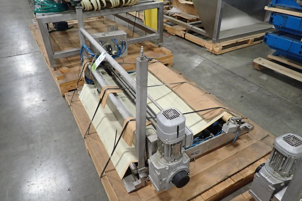 Lot 1036 - Transfer conveyor, 56 in. long x 51 in. wide, SS frame, motor and drive. **Rigging Fee: $25** (Locat