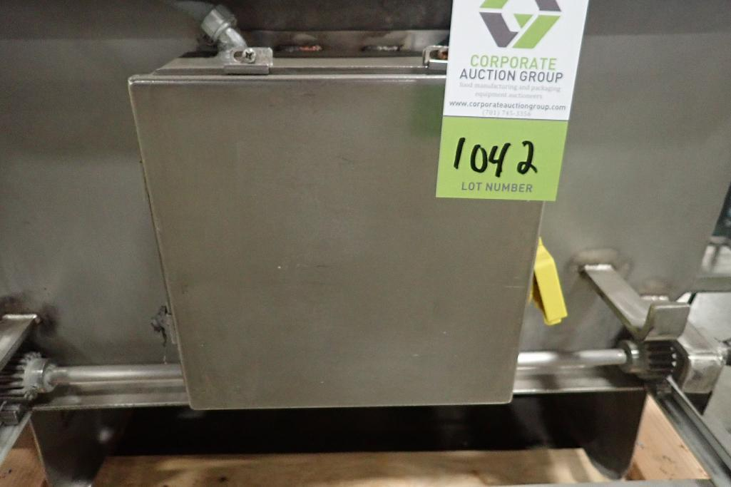 Lot 1042 - SS dough feeding conveyor, 72 in. long x 35 in. wide x 22 in. deep, lump buster, motor and drive, on
