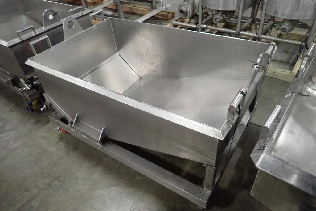 Lot 1056 - SS dough trough, 60 in. long x 30 in. wide x 25 in. deep, slant bottom, slide gate discharge, SS fra