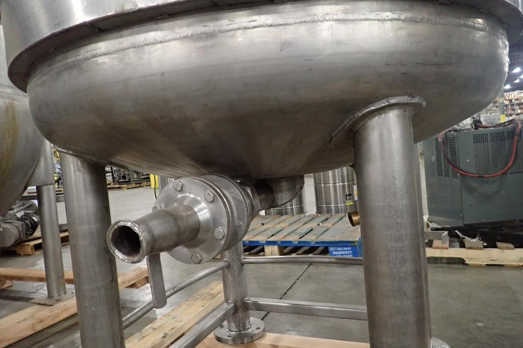 Lot 1067 - SS jacketed mix tank, 36 in. dia x 32 in. tall, dented jacket, exposed jacket where control panel wa
