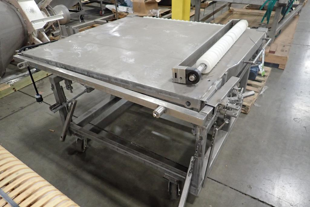 Lot 1038 - Spreader belt conveyor, 60 in. long x 58 in. wide x 38 in. tall, incomplete. **Rigging Fee: $25** (L