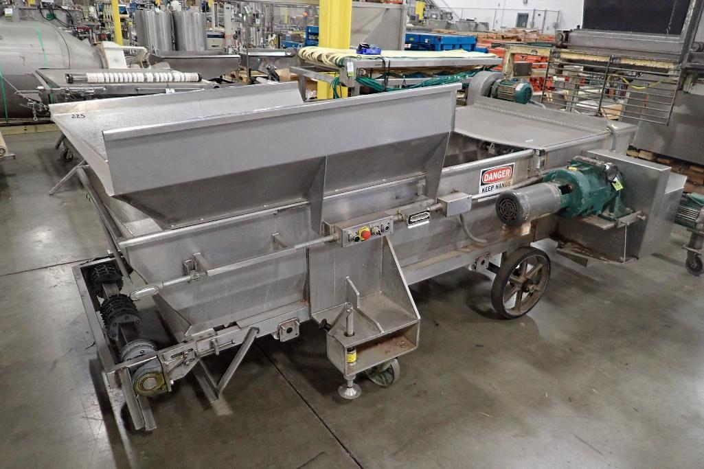 Lot 1026 - SS dough feeding conveyor, 108 in. long x 40 in. wide x 20 in. deep, missing belt, lump buster, moto