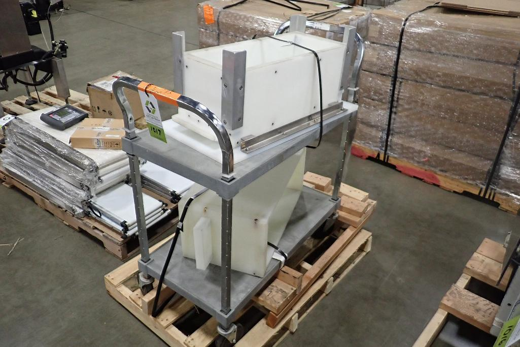 Lot 1017 - Poly cart 38 in. wide x 18 in. wide x 30 in. tall, (2) poly hoppers (LOT). **Rigging Fee: $10** (Loc