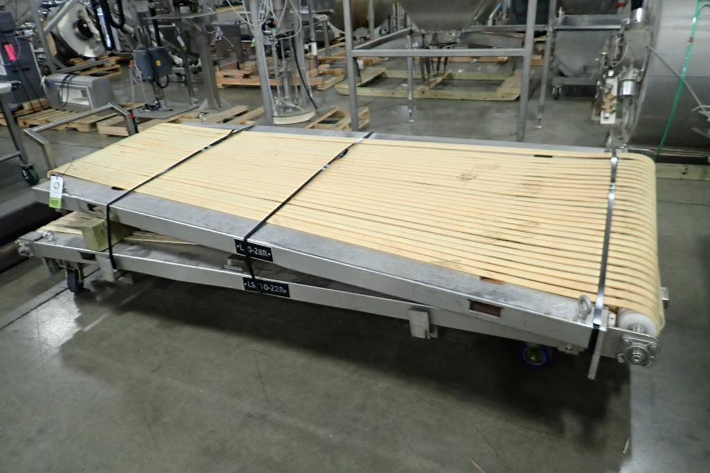 Lot 1039 - (2) spreader belt conveyor tops, 22 row and 28 row, 1 1/4 in. wide belts, SS frames. **Rigging Fee: