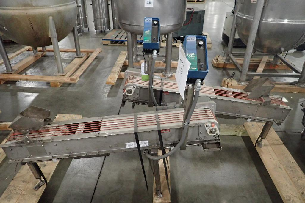 Lot 1059 - (2) incline band conveyors, 56 in. long x 6 in. wide x 19 in. infeed x 27 in. discharge, SS frame, m