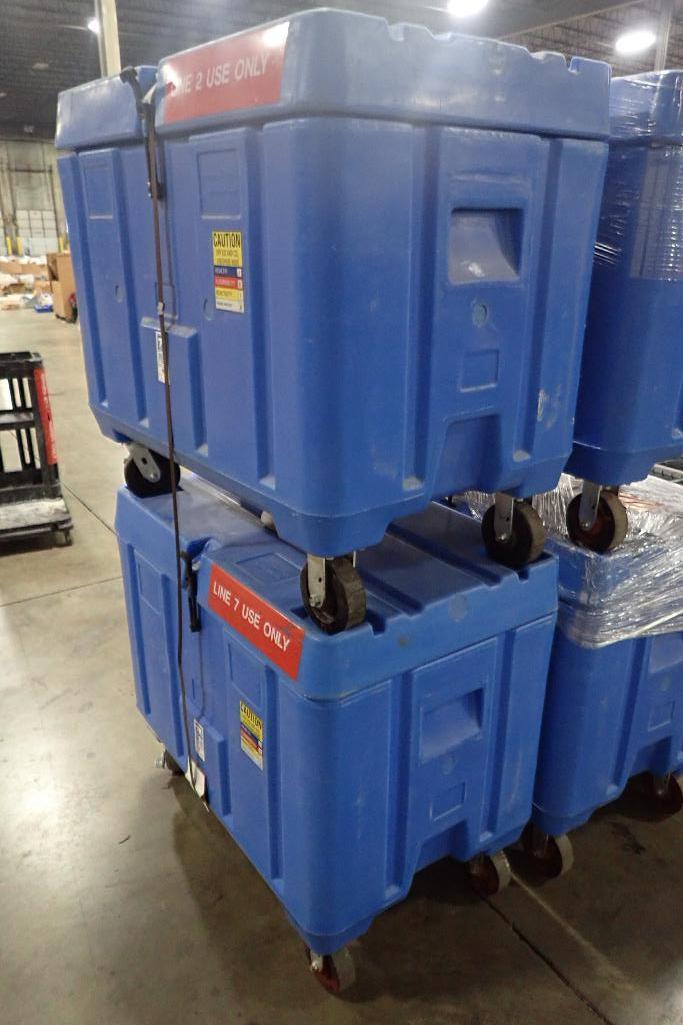 Lot 1031 - Bonar plastics insulated dry ice bins, 40 in. long x 27 in. wide x 24 in. deep, on wheels (EACH). **