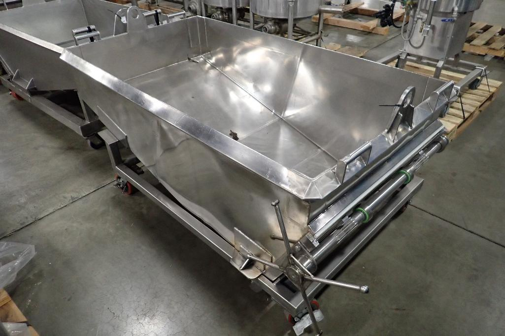 Lot 1055 - SS dough trough, 72 in. long x 40 in. wide x 30 in. deep, slant bottom, slide gate discharge, SS fra