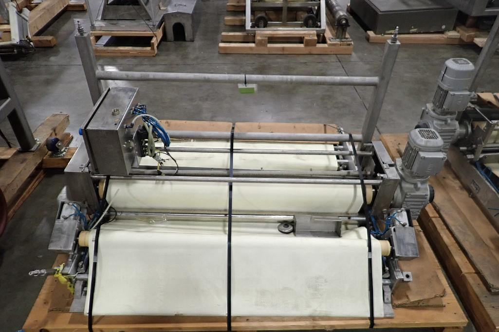 Lot 1035 - 2011 Sollich transfer conveyor, 56 in. long x 51 in. wide, SS frame, motor and drive. **Rigging Fee: