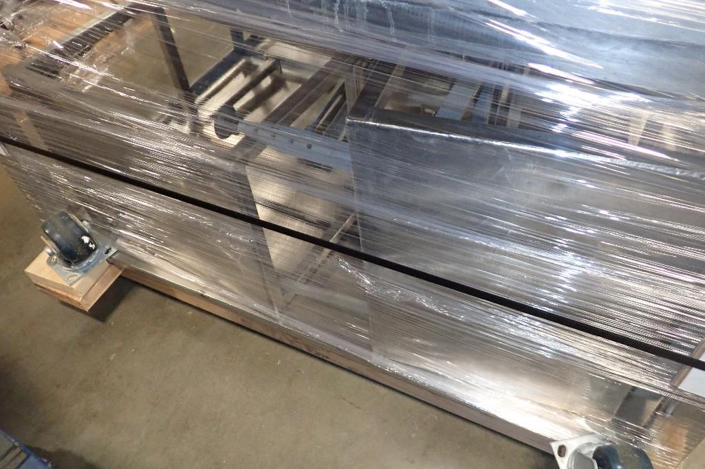 Lot 1014 - Pallet of assorted SS tables, various sizes, (1) 48 in. x 48 in. x 33 in. tall, stools (LOT). **Rigg