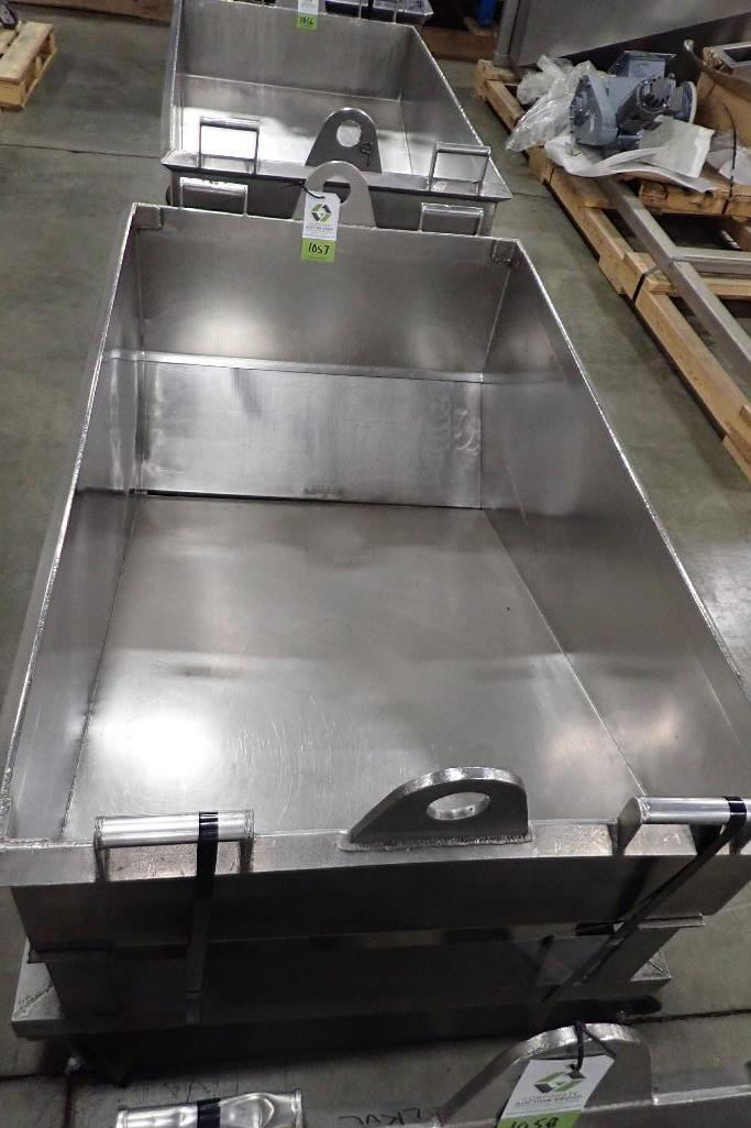 Lot 1057 - SS dough trough, 60 in. long x 36 in. wide x 25 in. deep, slant bottom, slide gate discharge, SS fra